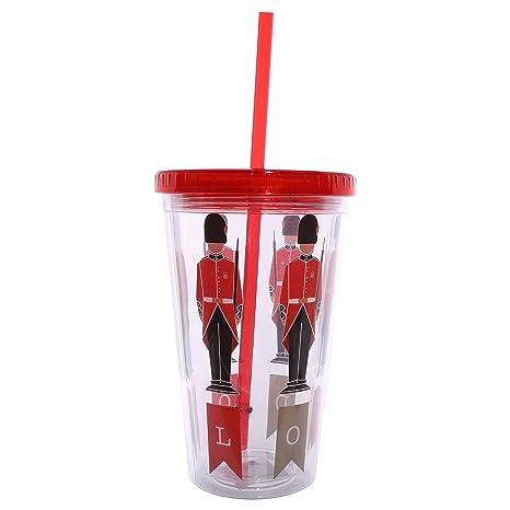 Bicchiere In Plastica Con Tappo E Cannuccia Design Guardia Reale