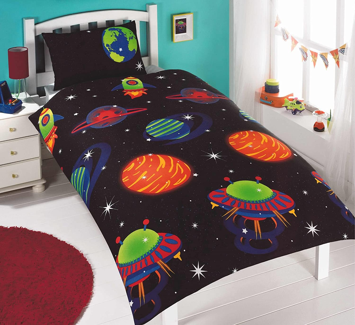 glow in the dark space rocket stars kid duvet quilt cover double