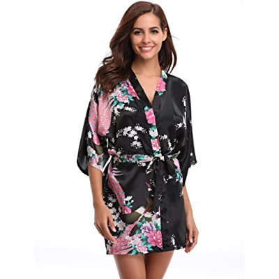 Aibrou Women's Kimono Robe Satin Peacock Bathrobe Short Silk Bridal Robe