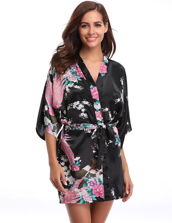 93a339087f Aibrou Women s Kimono Robe Satin Peacock Bathrobe Short Silk Bridal Robe at  Amazon Women s Clothing store