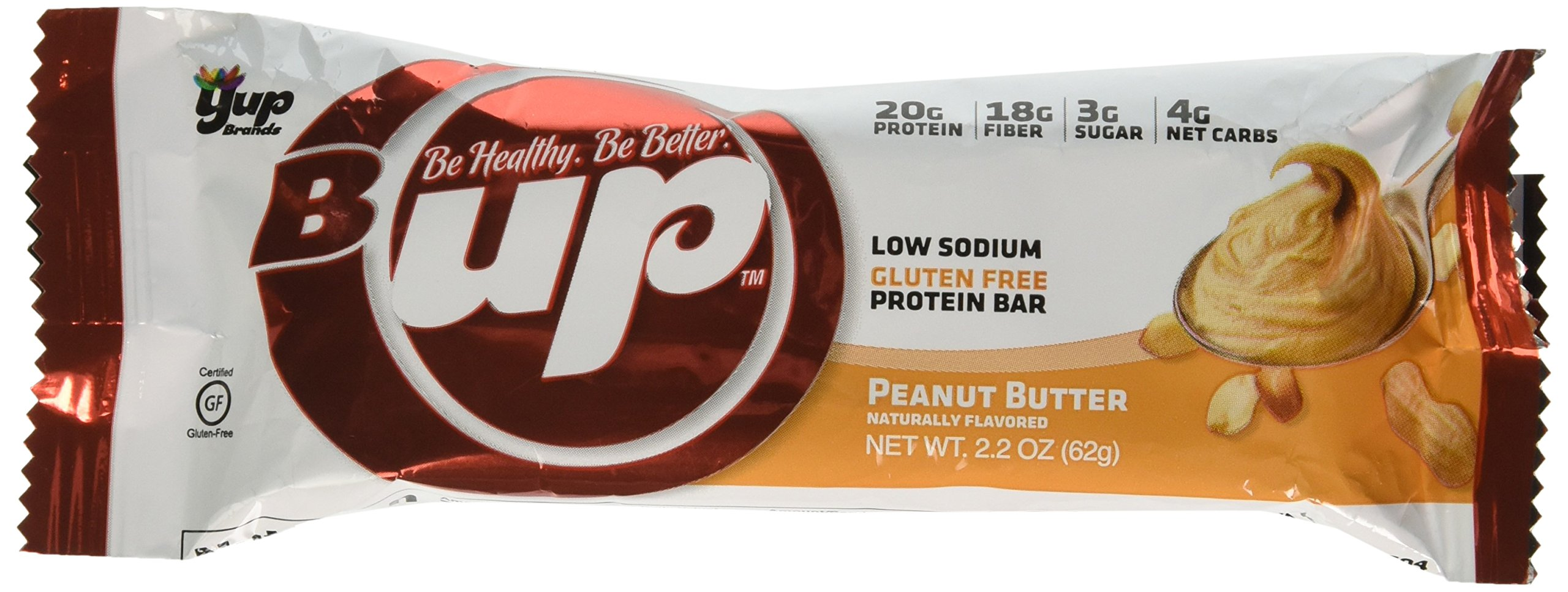 YUP Brands B-Up Protein Nutritional Bar, Peanut Butter, 2.2 Ounce, 12 Count