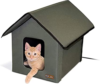 K H Pet Products Outdoor Heated Kitty House Cat Shelter Olive 22 X 19 X 17 Inches Pet Beds Pet Supplies