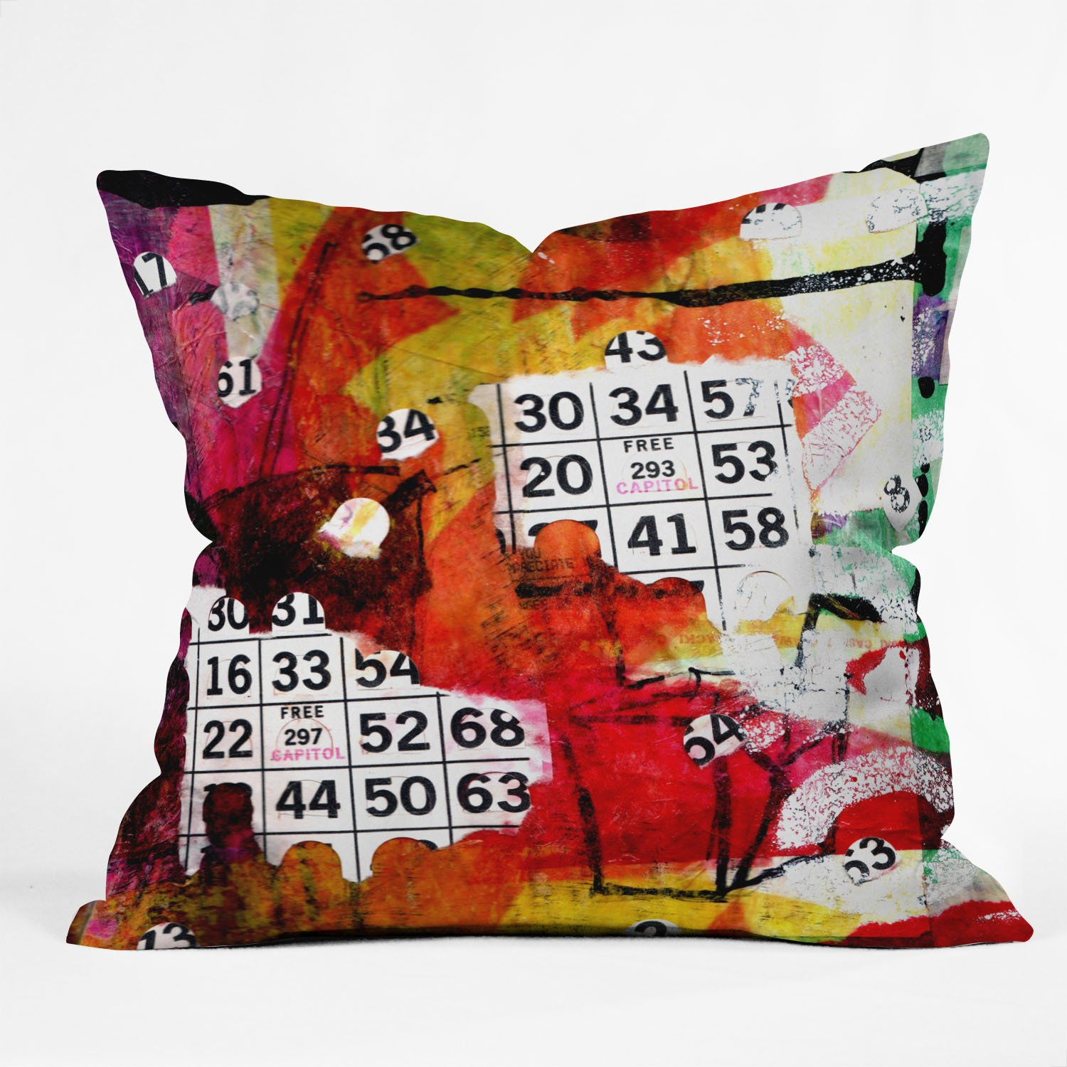 Deny Designs Sophia Buddenhagen Bright Bingo 2 Throw Pillow, 16 x 16 by Deny Designs