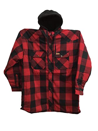 Five Brother Men S Regular Fit Quilt Lined Hooded Flannel Jacket Red