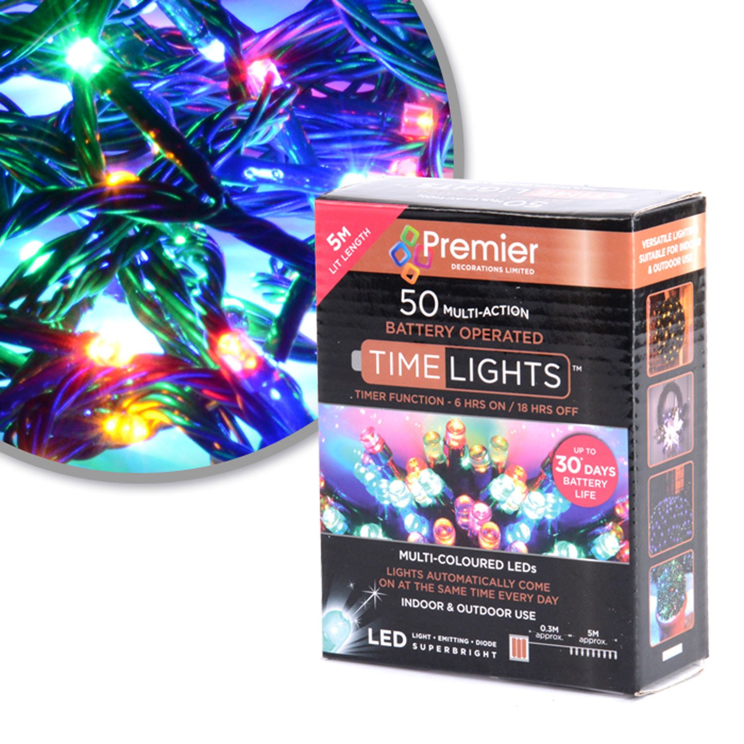 13. 50 Mullti Colour LED Multi Action Christmas Tree Lights, Battery Operated, Timer - Indoor and Outdoor Direct Global Trading