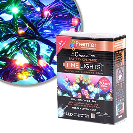 50 Mullti Colour LED Multi Action Christmas Tree Lights, Battery Operated,  Timer
