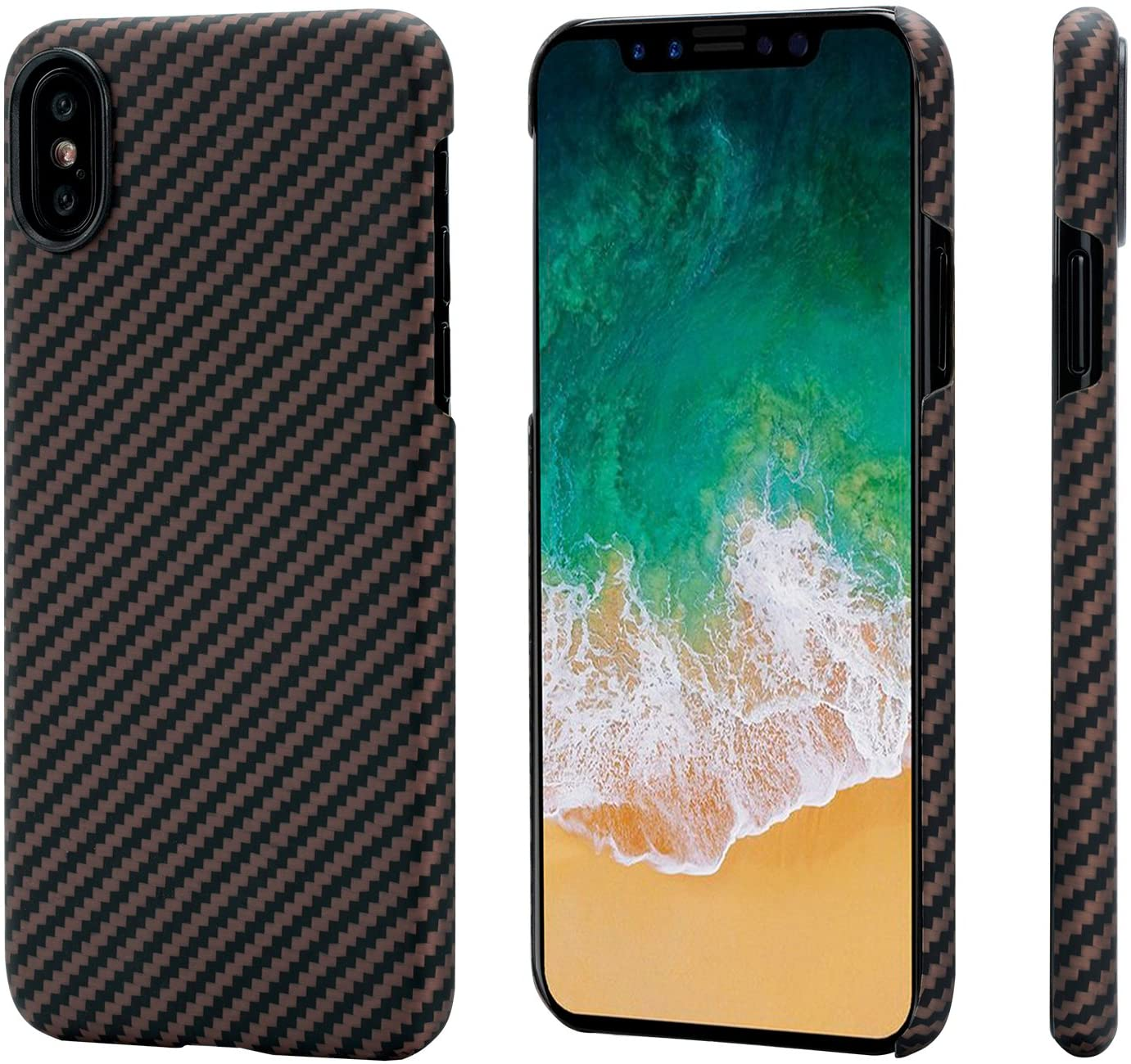 """PITAKA Magnetic Slim Case Compatible with iPhone X 5.8"""", MagEZ Case Aramid Fiber [Real Body Armor Material] Phone Case,Minimalist Strongest Durable Snugly Fit Snap-on Case - Black/Golden"""