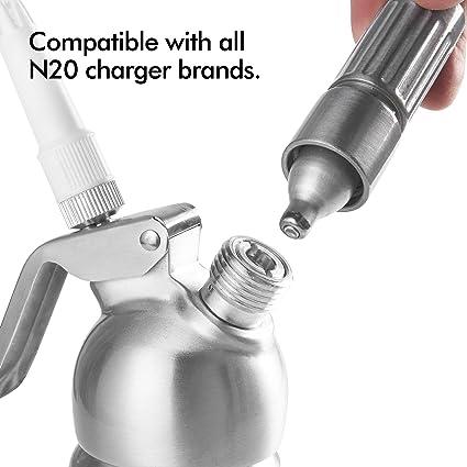 Compra VonShef Dispensador de Crema Batida con Accesorios de 0.5L/500ml - Compatible con Todas Las Marcas de Cargadores N2O - 3 X Boquillas de Decoración ...