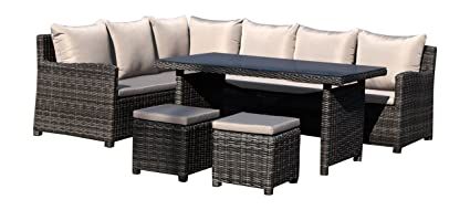 Superieur Hospitality Rattan U3215F 5 Piece Sapphire Outdoor Collection Dining  Sectional Furniture Set