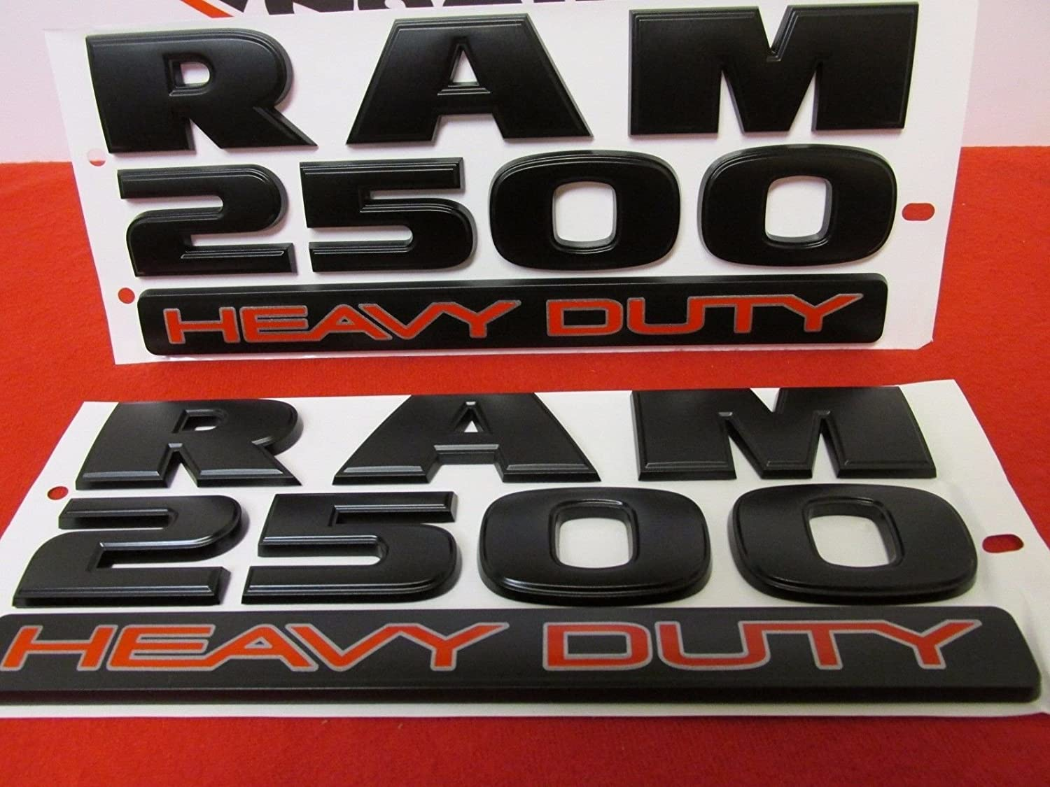 Yoaoo 3x OEM Black RAM 2500 HEAVY DUTY Plus 4x4 Emblem Badge 3D Emblem Decals Nameplates Flat Letter Matte
