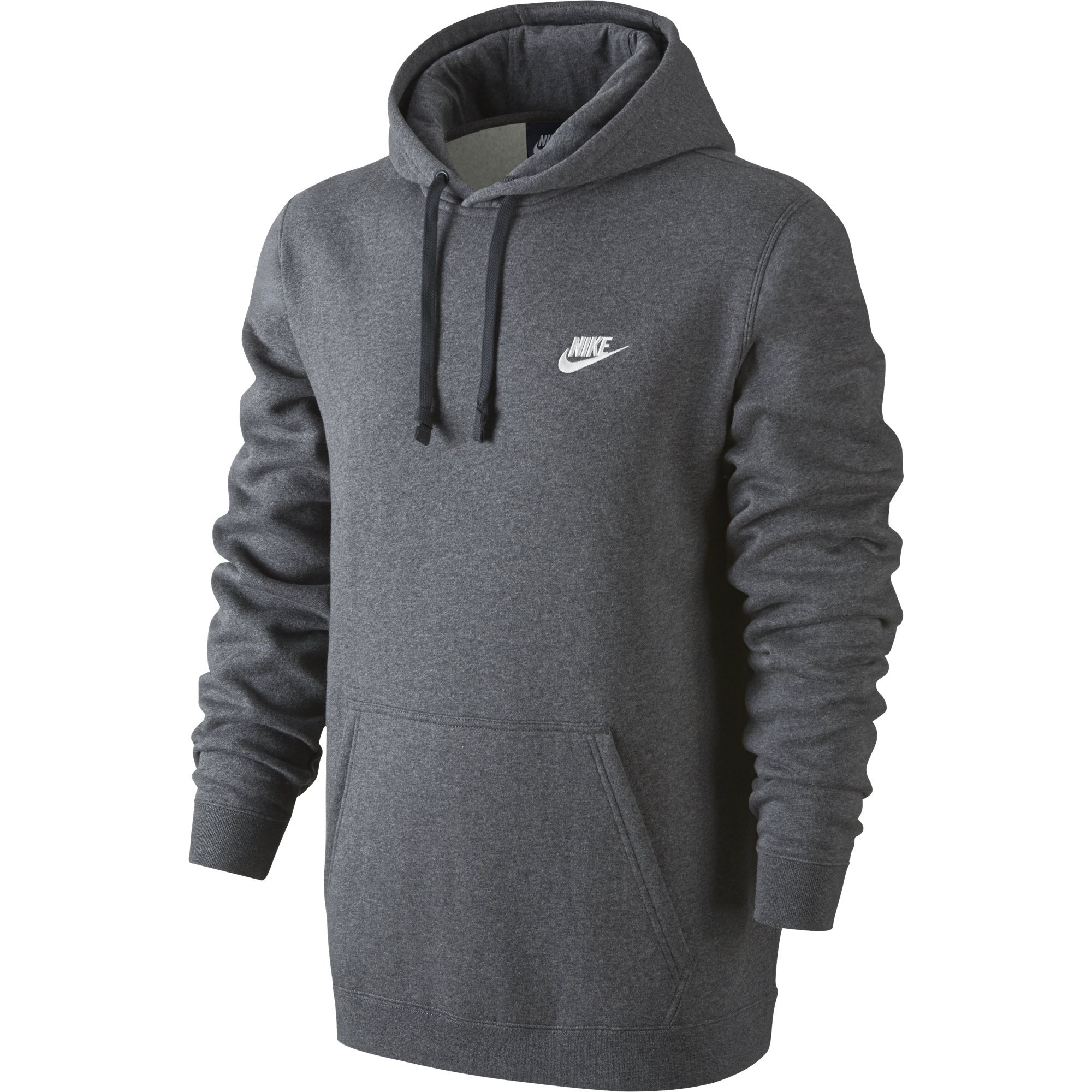 NIKE Sportswear Men's Pullover Club Hoodie, Charcoal Heather/Charcoal Heather/White, XXXX-Large Tall