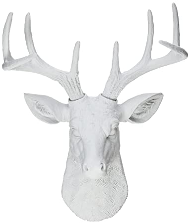 White Faux Taxidermy Templeton Deer Head Wall Decor, Mini, White