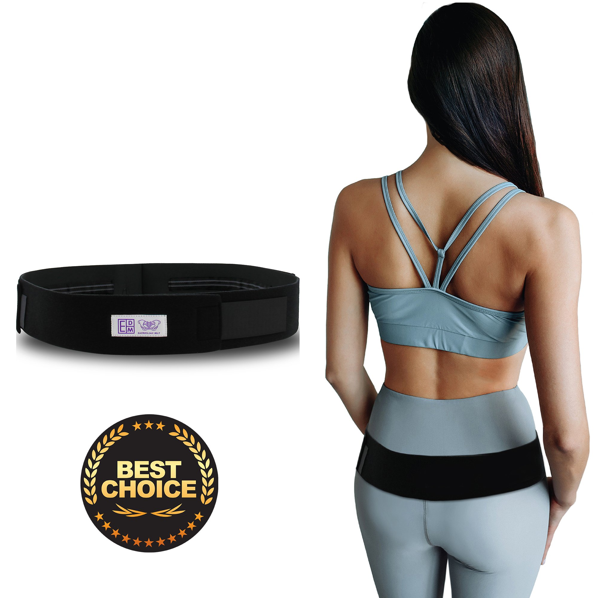 Everyday Medical Sacroiliac SI Joint Support Belt for Pelvic and SI Pain Relief - Supports The Sacroiliac Joint - Alleviates Hip Pain, Lower Back, Sciatica, Lumbar and Discomfort (L - Hips 39-45'')