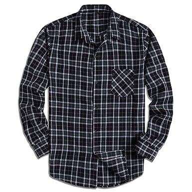 a92785f2e0 PIZZ ANNU Men's Classic Plaid Flannel Long Sleeve Button Up Shirt (S,  PZ2001)