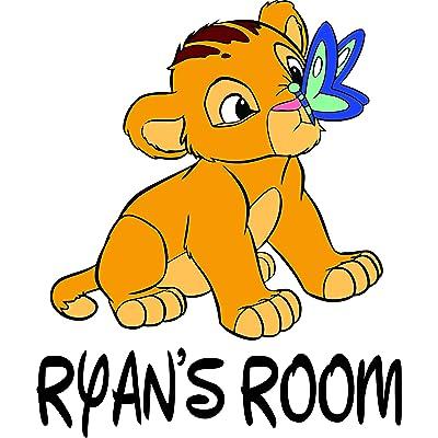 Lion King Disney Movie Cartoon Children Custom Personalized Name Sticker Animated Movie Disney Wall Decals for Kids Bedroom/Boys Wall Decor Vinyl Sticker Art Simba Zazu Size 20x20 inch: Home & Kitchen