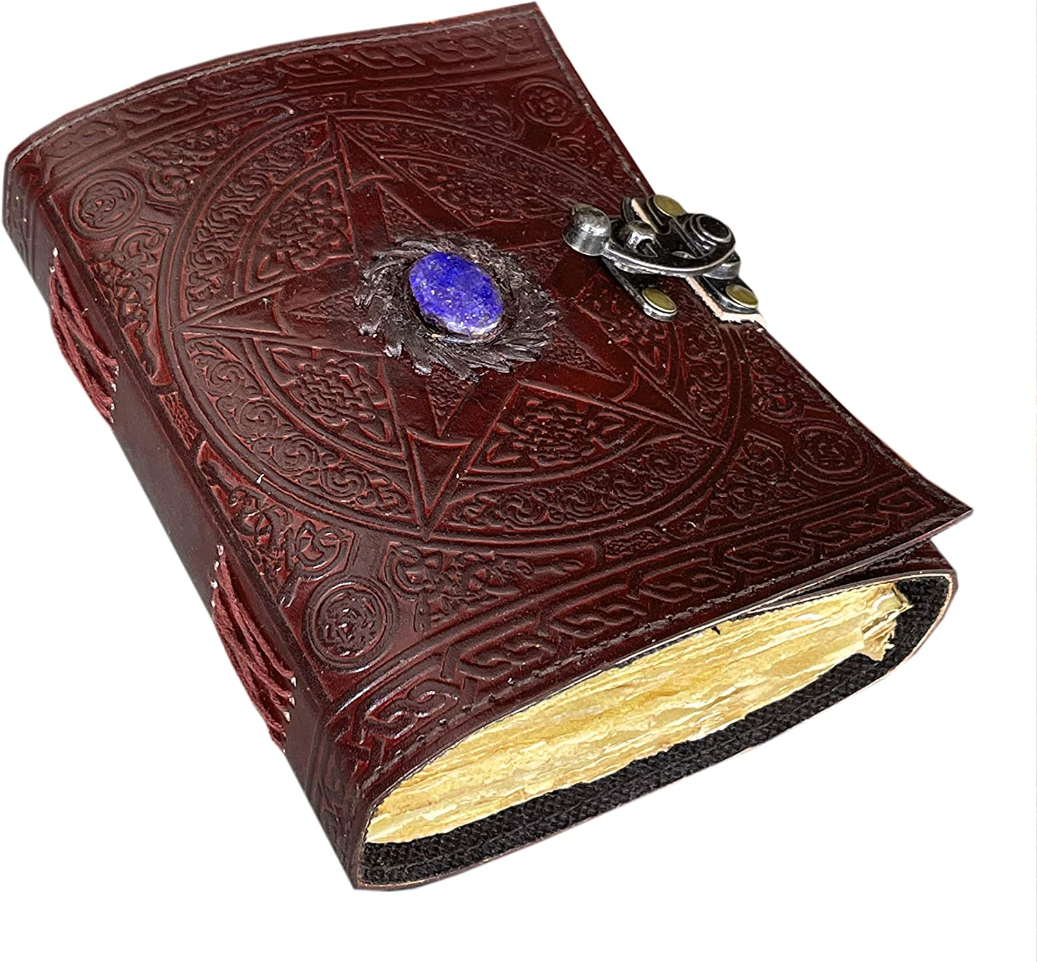 Pentagram Leather Journal with Third Eye Stone Lock Clasp Prop Vintage Blank Spell Book of Shadows Embossed Deckle Vintage 200 Pages Sketchbook & Notebook for Him & Her 7 x 5 Inch (Brown)