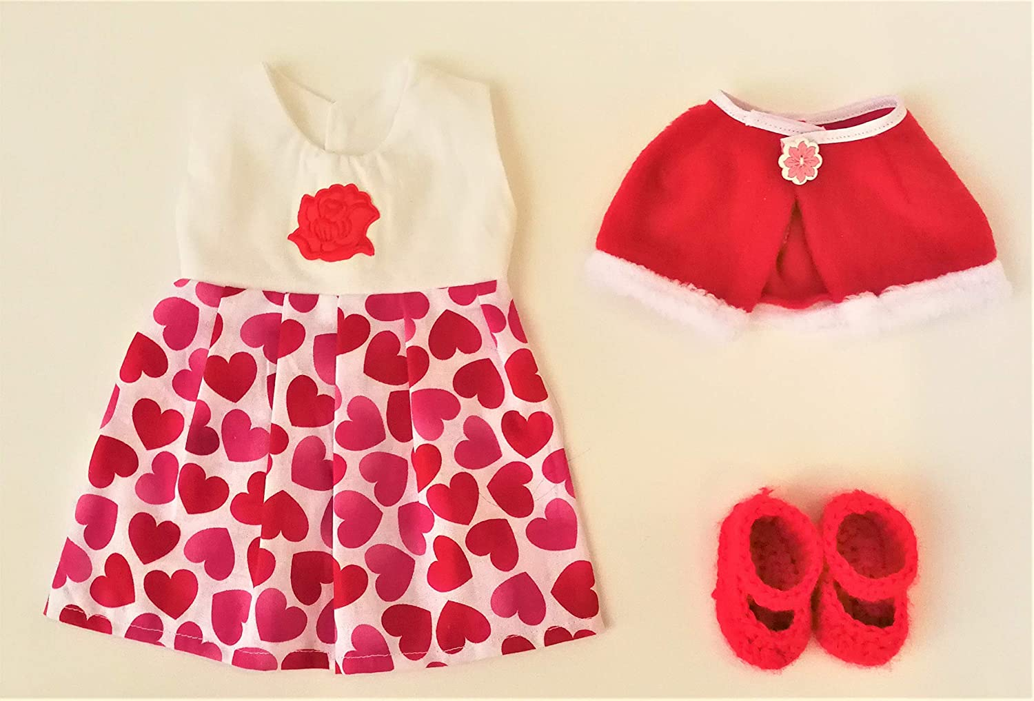 Heart Rose Skirt+Shawl Sets With Option Shoes Doll Dress My Dolls Life Granddaughter Daughter Niece Quality Birthday Gifts For Little Girls 18 Inch American Girl Doll Clothes And Accessories
