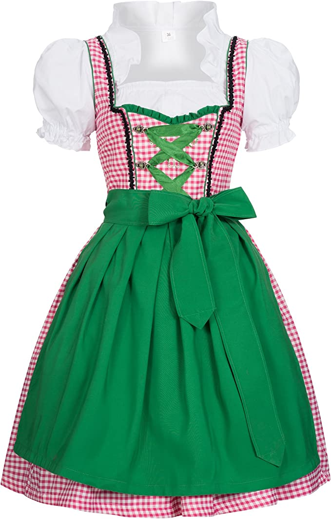 NEU süßes Dirndl,3 tlg.Set,Kleid,Bluse,Schürze grün-kariert grün Gr.36,38,40
