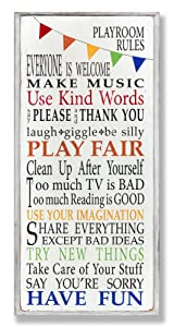 The Kids Room by Stupell Playroom Rules with Banner Skinny Rectangle Wall Plaque, 7 x 0.5 x 17, Proudly Made in USA