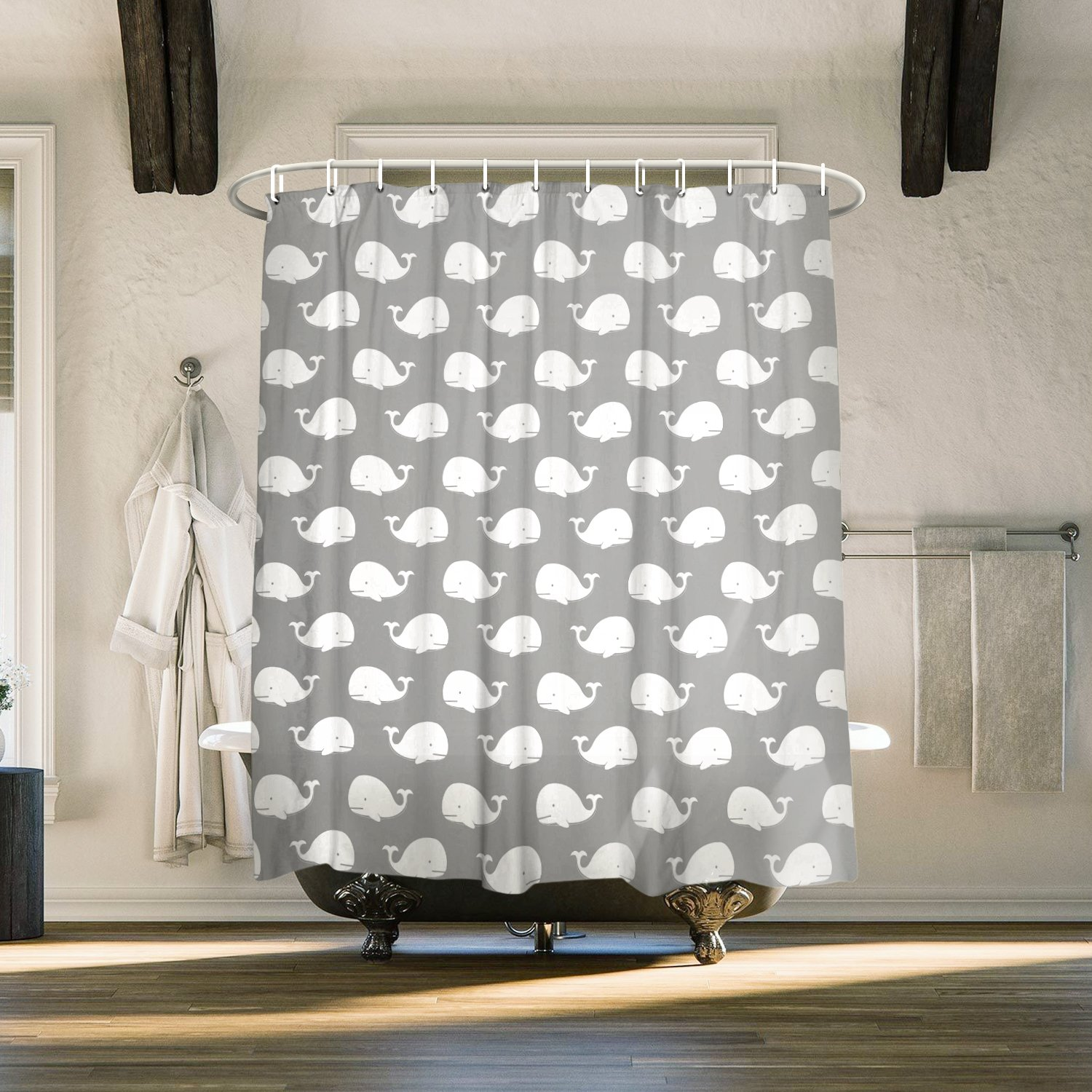 Waterproof and Mildewproof Polyester Fabric Bath Curtain Design,72x72-Inch Cloud Dream Cartoon Whale Gray Shower Curtain