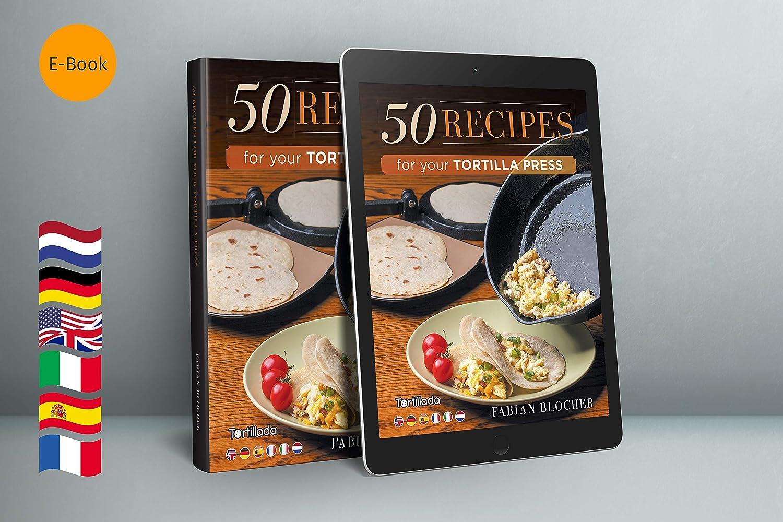 26cm Gril//po/êle en Fonte pr/é assaisonn/ée Support de poign/ée Chaude Tortillada Recettes E-Book 50 Recettes de Tortillas
