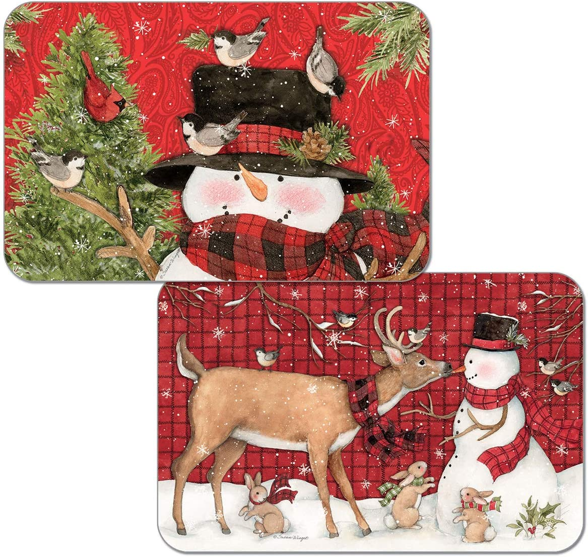 Counterart Paisley Snowman Reversible Placemats Set Of 4 Kitchen Dining