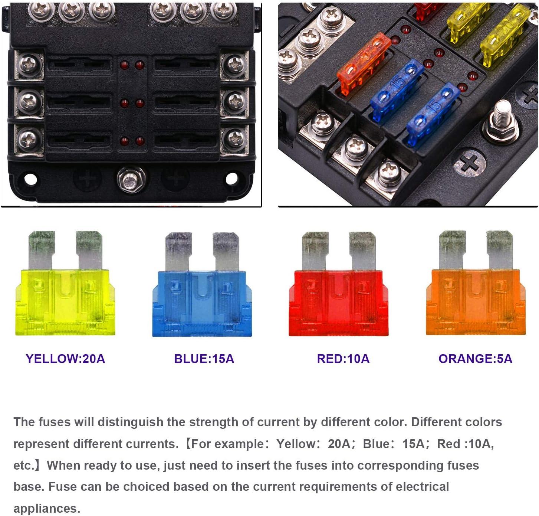 Bloque Portafusibles con indicador LED para Barco Cami/ón de coches KKmoon 6 v/ías Caja de fusibles con Bus negativo