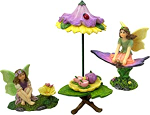 PRETMANNS Fairy Garden Fairies Accessories – A Fairy Tea Party Set with Miniature Fairies & Fairy Furniture and a Cute Colorful Tea Set – Fairy Garden Supplies 8 Pieces