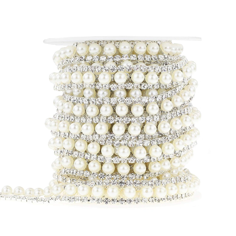 Shinytime strass visiera 0, 9m 2file argento stretta catena fascia con strass bianco perla in rilievo per abbigliamento e bouquet da sposa abbellimenti Pearl-1 XIAOTAI