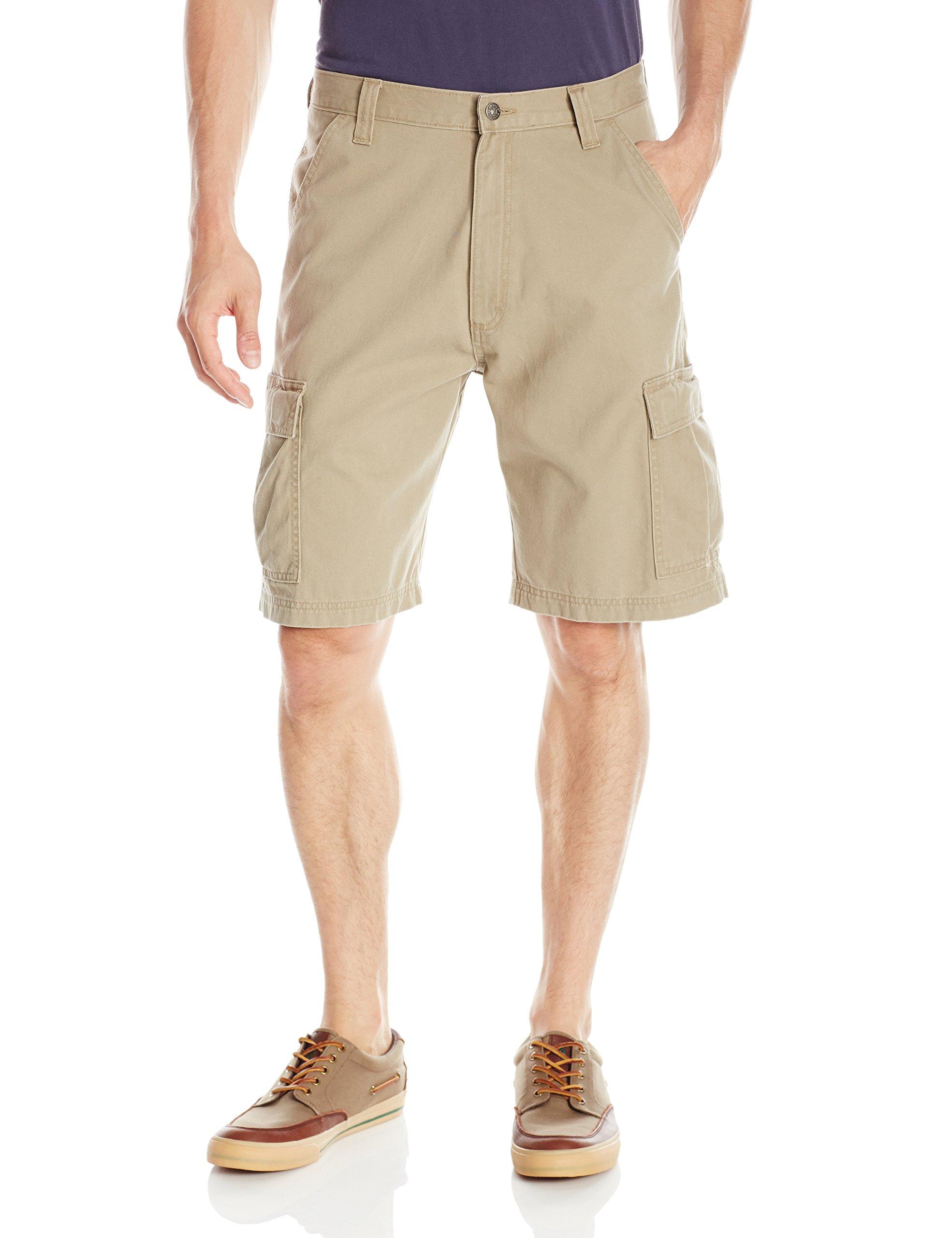 Wrangler Men's Authentics Classic Twill Cargo Short, British Khaki Twill, 36