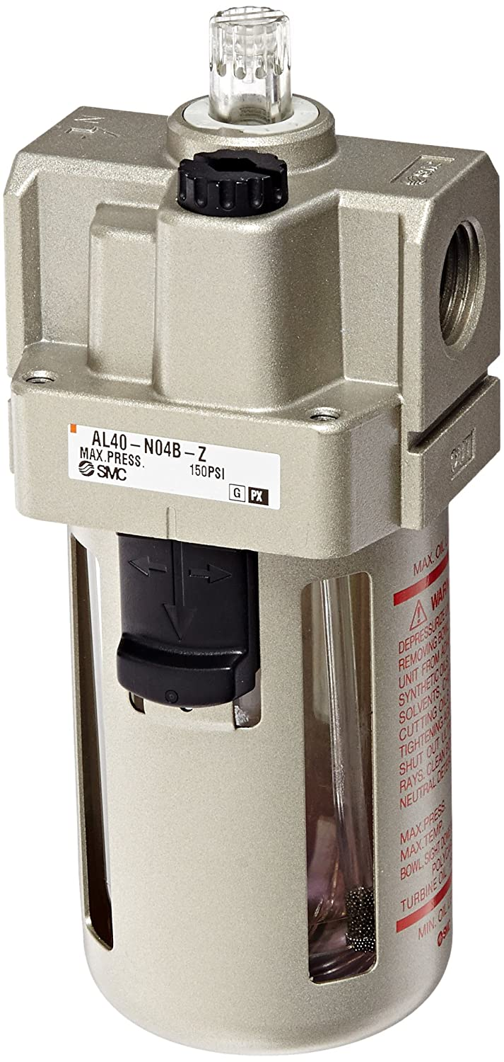 SMC AL40-N04B-Z-A Lubricator, Polycarbonate Bowl, without Drain Cock, 135 mL Oil Capacity, 50 L/min Dripping Flow Rate, 1/2' NPT, Mounting Bracket