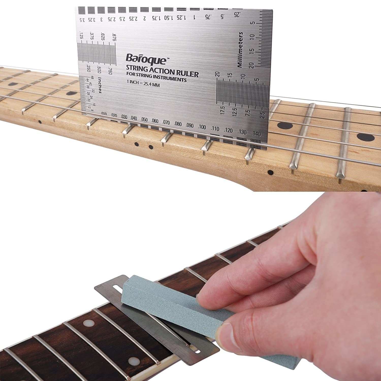 Mr.Power String Action Ruler with Fret Wire Sanding Set Luthier Tools For Electric Bass Acoustic Guitar GraceBuy Music
