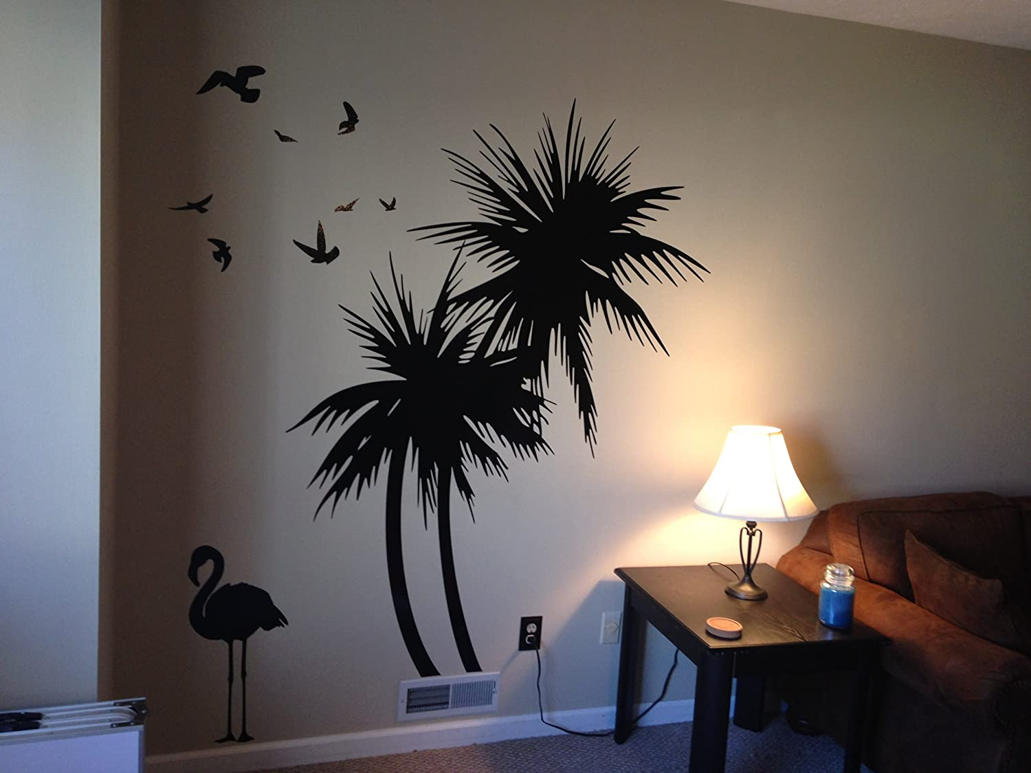 Amazon palm trees 6 ft wall decal with flamingo and birds amazon palm trees 6 ft wall decal with flamingo and birds home kitchen amipublicfo Image collections