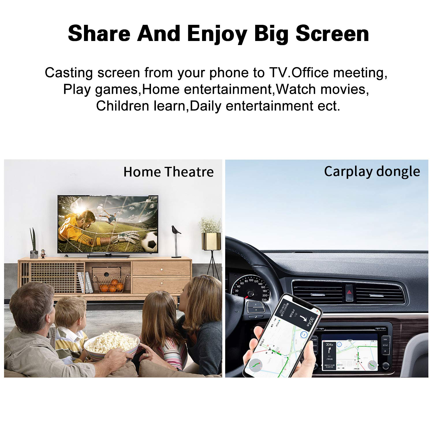 2.4GHz WiFi Display Adapter 4K WiFi Dongle Ricevitore Miracast Airplay DLNA per Android//Smartphone//PC//TV//Monitor//Proiettore EZCast Wireless Display Dongle HDMI 5GH
