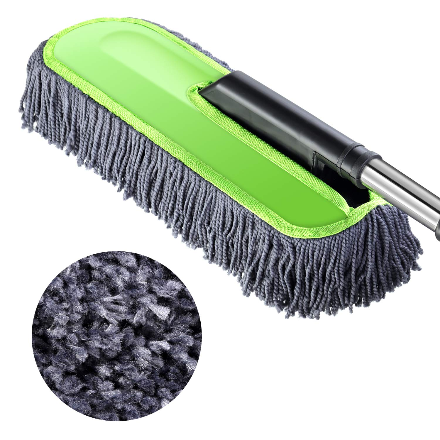 Happy Road Car Duster, High Decontamination Car Brush Duster, Car Microfiber Duster with Extendable Handle - Exterior/Interior Use - Lint Free - Scratch Free