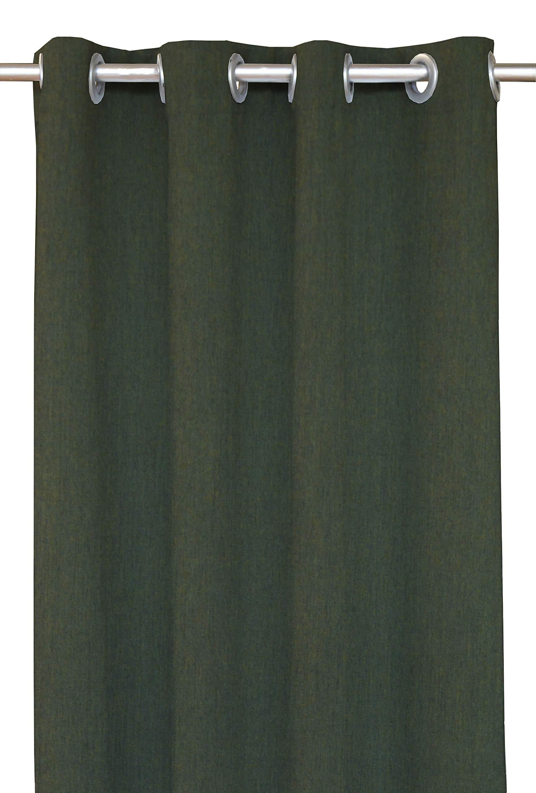 RSH Décor Indoor/Outdoor Brush Nickel Grommet Curtain Panel Made from Sunbrella Canvas Fern (50'' W x 120'' L)