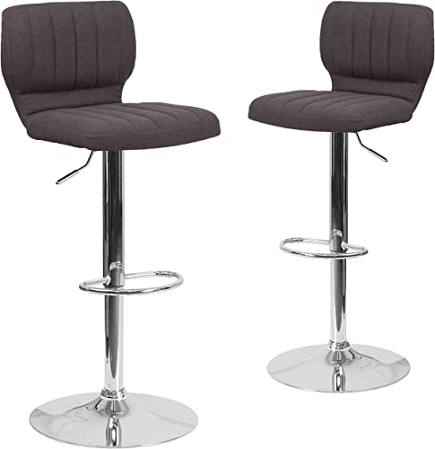 Flash Furniture 2 Pk. Contemporary Charcoal Fabric Adjustable Height Barstool with Vertical Stitch Back and Chrome Base