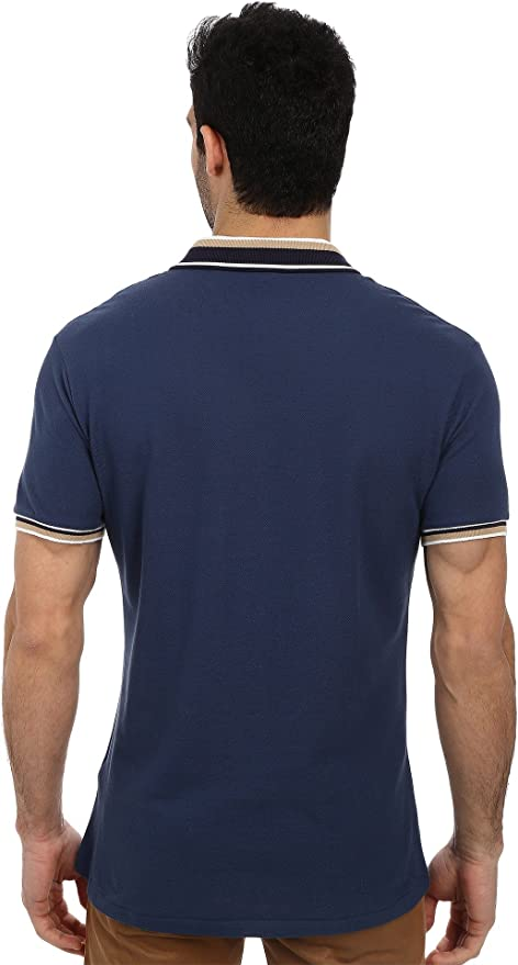 1a0df665e6de Lacoste Men's Slim Fit Pique Polo with Neo-Piping, Philippines Navy  Blue/White/Sahara, 7 at Amazon Men's Clothing store:
