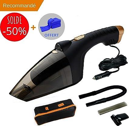 Quicklean - Aspirador de mano para coche, 12 V, 106 W, lámpara LED, incluye gamuza microfibra de limpieza gamuza 40 x 60 cm: Amazon.es: Coche y moto