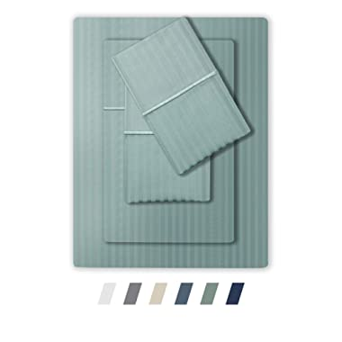 Feather & Stitch 500 Thread Count 100% Cotton Sheet Set, Stripe Sheets, Soft Sateen Weave,Deep Pockets,Hotel Collection,Luxury Bedding Super Sale 100% Cotton (Queen Granite Green)