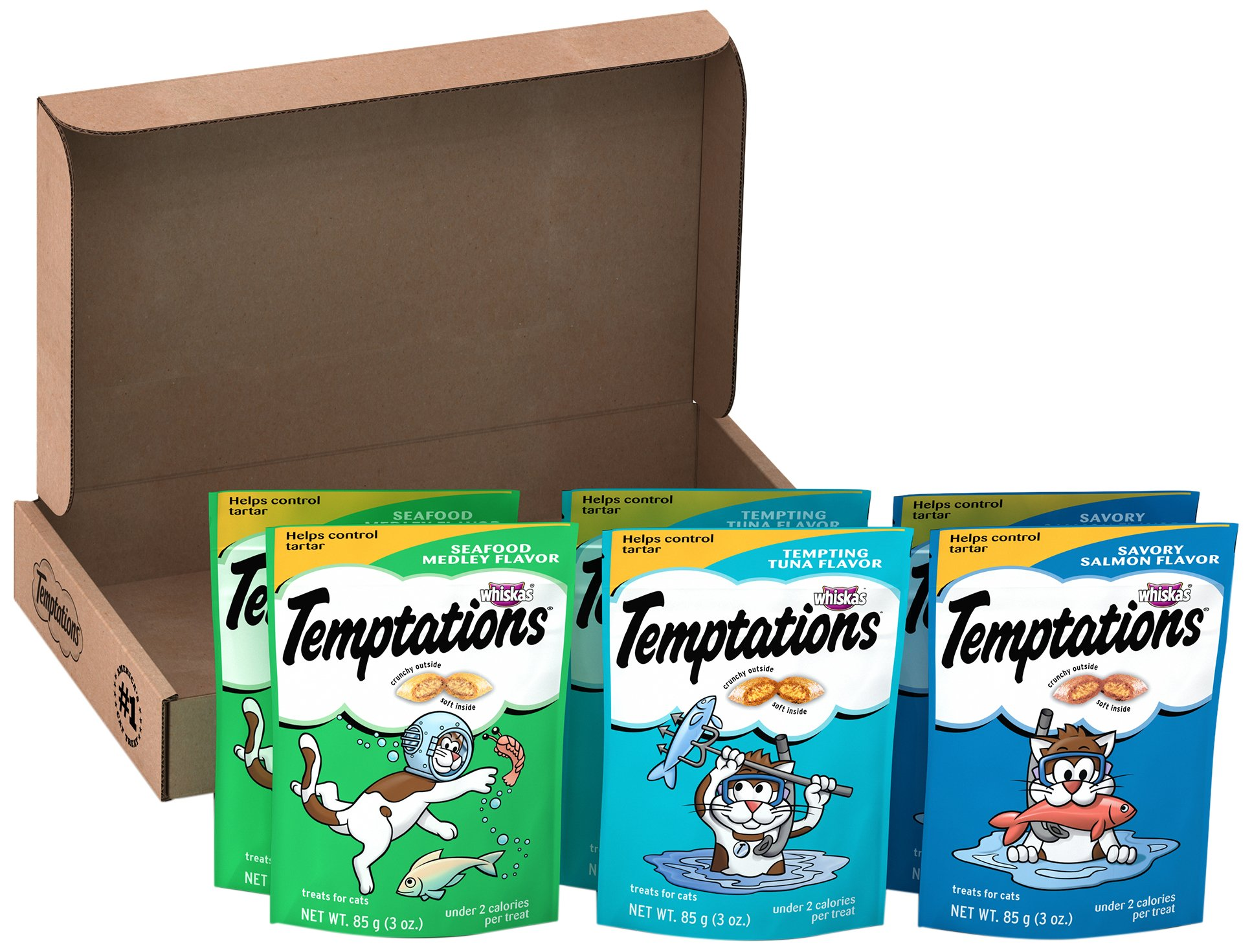 Temptations Classic Cat Treats Seafood Lovers Variety Pack, (6) 3 oz. Pouches