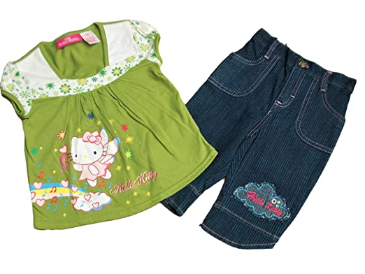 a0cdf434c BNWOT Hello kitty green top and capri trousers (4 years): Amazon.co.uk:  Clothing