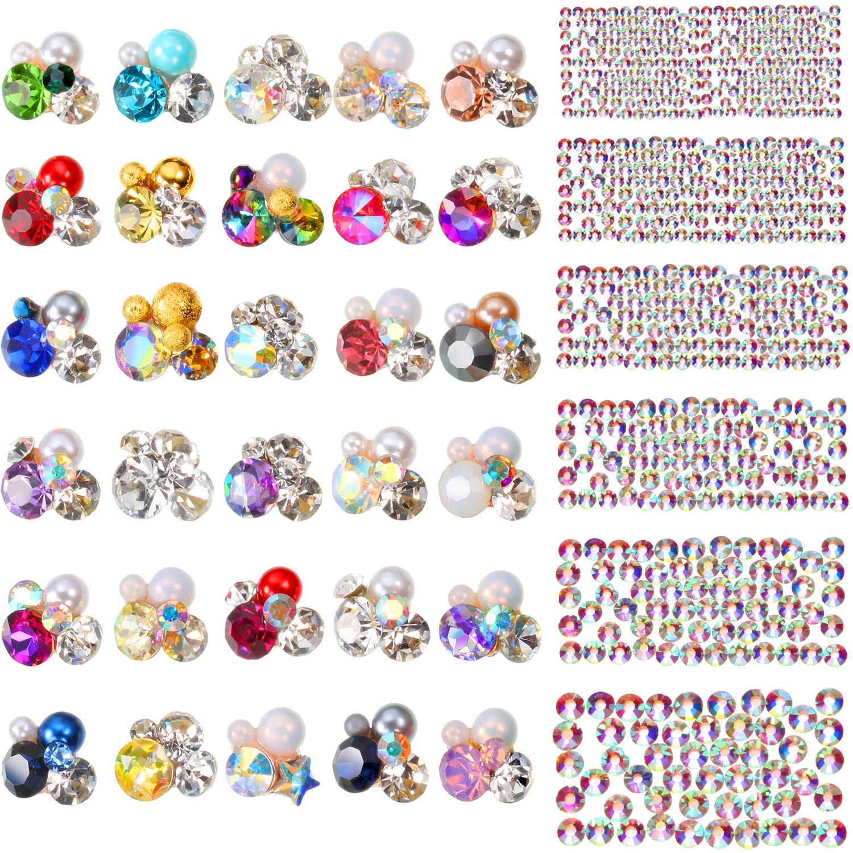 Bememo 2030 Pieces 3D Crystal AB Color Flat Back Rhinestones Nail Art DIY Crafts Gemstones with Nail Art Gem Stones (2030 Pieces, Style E) by Bememo
