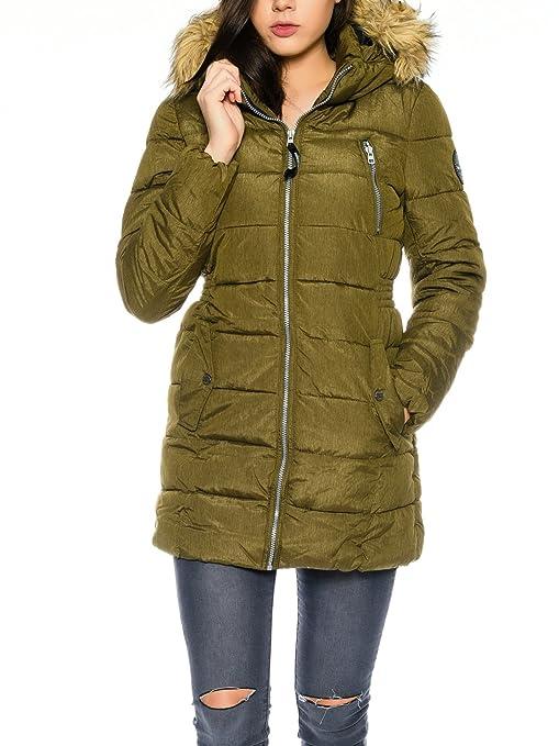Only abrigo de capucha Mujer khaki-grün (Beech) Small