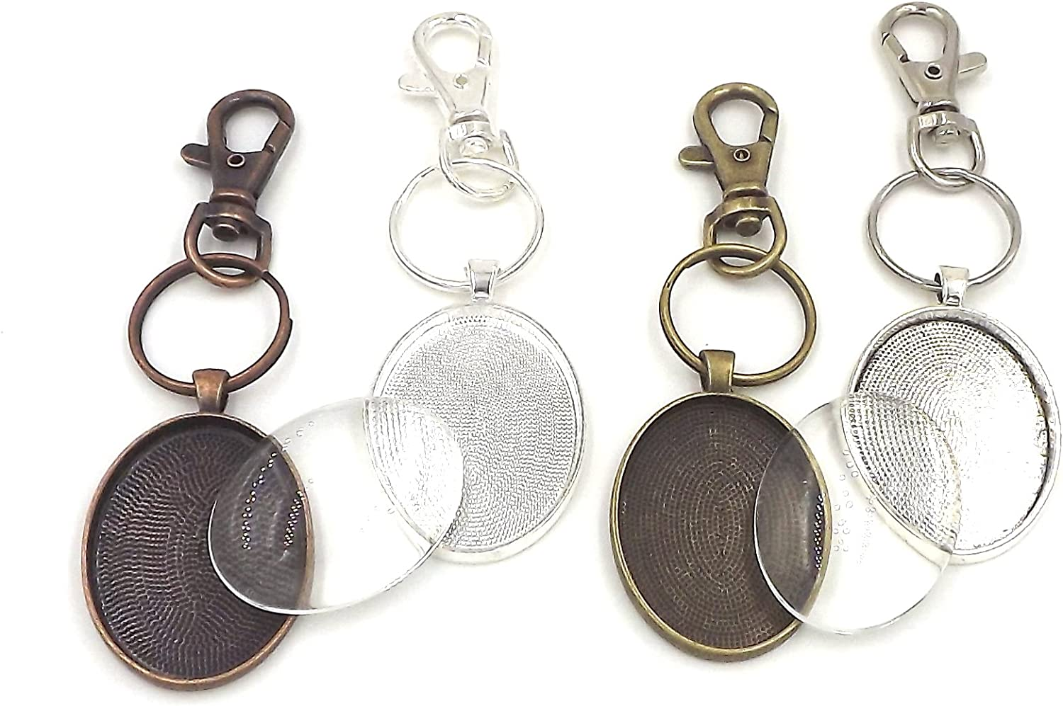 30X40mm oval pendant trays key chains in your choice of color