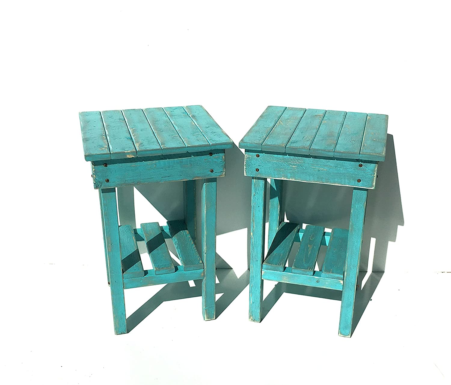 separation shoes 765e1 8b4e6 Distressed Night Stand Set /Turquoise Distressed End Table Set /Bed Side  Tables/Rustic Table/Farmhouse Side Table/Vintage/Wooden Table