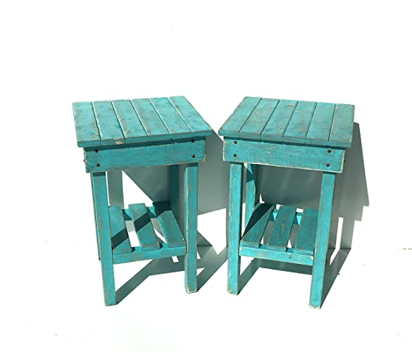 Amazon.com: Distressed Night Stand Set /Turquoise Distressed End ...