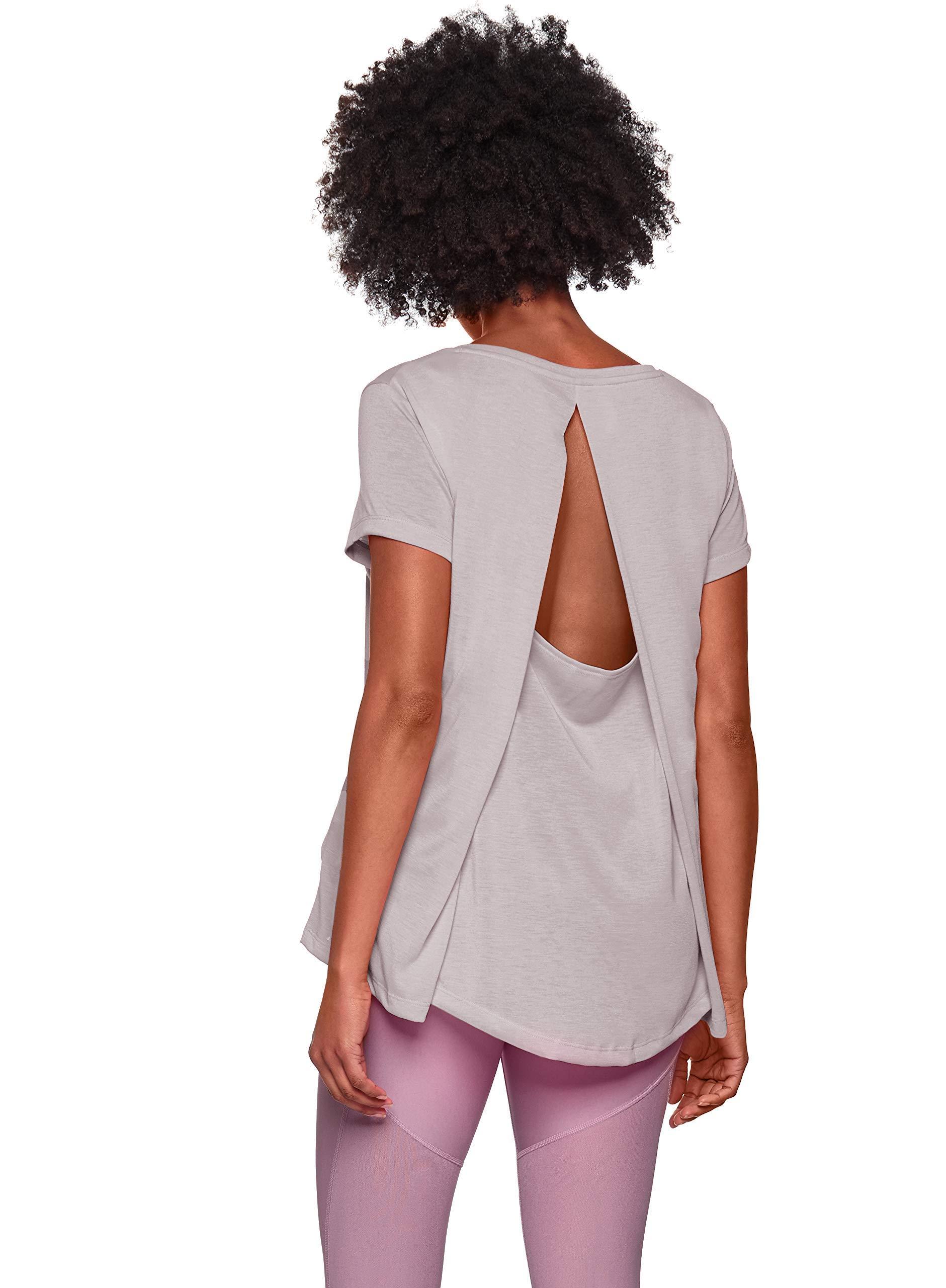 Under Armour Women's Whisperlight Short Sleeve Foldover Shirt, Tetra Gray//Tonal, X-Small