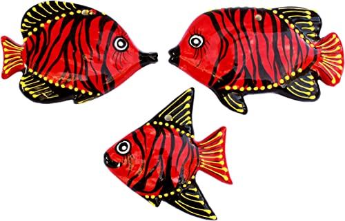 Cactus Canyon Ceramics Spanish 3-Piece Fish Wall Hanger Set, Tahiti Red