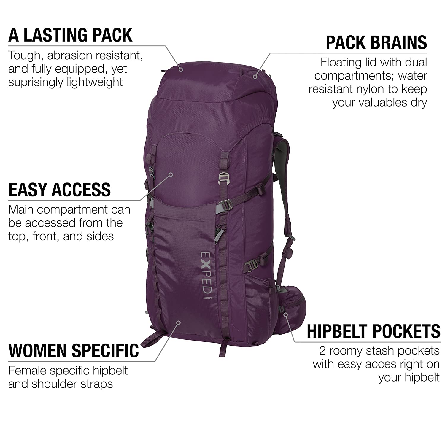 694deaa789bc Amazon.com: Exped Women's Explore 60 Backpack: Sports & Outdoors